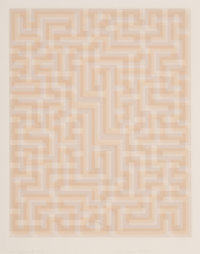 Anni Albers (1899-1994) Red Meander II, 1970-71 Screenprint in colors on paper 28 x 24 inches (71