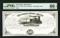 Obsoletes By State:Kentucky, Bardstown, KY- County Court of Nelson $50 Aug. 1856 UNL Proprietary Proof PMG Gem Uncirculated 66 EPQ.. ...