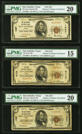 National Bank Notes:Texas, San Antonio, TX - $5 (2); $10 1929 Ty. 1 The San Antonio National Bank Ch. # 1657 PMG Graded Very Fine 20 (2); Very Fi... (Total: 9 notes)
