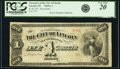 Lincoln, NE- City of Lincoln $1 187_ Remainder PCGS Very Fine 20