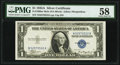 Fr. 1608 $1 1935A Mule Silver Certificate. PMG Choice About Unc 58