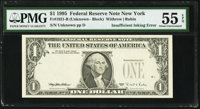 Insufficient Inking of Overprint Error Fr. 1921-B $1 1995 Federal Reserve Note. PMG About Uncirculated 55 EPQ