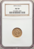 Liberty Quarter Eagles: , 1876-S $2 1/2 AU50 NGC. Pop (7/109), CDN Collector Price ($1020.00), Trends ($1000.00), CAC (1/12)