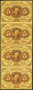 Fr. 1230 5¢ First Issue Uncut Vertical Strip of Four Notes Very Fine