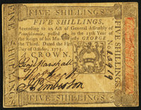 Pennsylvania October 1, 1773 5s Extremely Fine