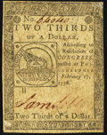 Continental Currency February 17, 1776 $2/3 Very Fine