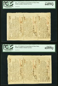 Colonial Notes:North Carolina, North Carolina December, 1771 Two Cut Sheets of Three 2s6d, 5s, and 1s PCGS Gem New 65PPQ and PCGS Very Choice New 64PPQ.. ... (Total: 2 sheets)