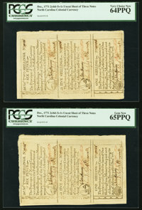 North Carolina December, 1771 Two Cut Sheets of Three 2s6d, 5s, and 1s PCGS Gem New 65PPQ and PCGS Very Choice New 64PPQ...