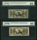 Fractional Currency:Third Issue, Fr. 1360 50¢ Third Issue Justice PMG Choice Uncirculated 64. Fr. 1362 50¢ Third Issue Justice PMG Choice Uncirculated 64 E... (Total: 2 notes)
