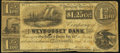 Obsoletes By State:Rhode Island, Providence, RI- Weybosset Bank $1.25 Aug. 6, 1853 Very Good-Fine.. ...