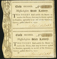 Massachusetts State Lottery. Mar. 2, 1790. Class Second. Uncut Pair. Extremely Fine-About New
