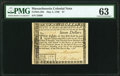 Colonial Notes:Massachusetts, Massachusetts May 5, 1780 $7 PMG Choice Uncirculated 63.. ...