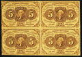 Fr. 1230 5¢ First Issue Block of Four Notes Very Fine