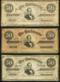 Confederate Notes:1864 Issues, T66 $50 1864 Three Examples Fine or Better.. ... (Total: 3 notes)