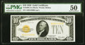Fr. 2400 $10 1928 Gold Certificate. PMG About Uncirculated 50