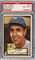 Baseball Cards:Singles (1950-1959), 1952 Topps Phil Rizzuto (Black Back) #11 PSA NM-MT 8 - Only Two Higher. ...