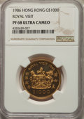 "Hong Kong , Hong Kong : British Colony. Elizabeth II gold Proof ""Royal Visit"" 1000 Dollars 1986 PR68 Ultra Cameo NGC,..."