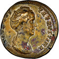 Ancients:Roman Imperial, Ancients: Diva Faustina Senior (AD 138-140/1). AE sestertius (32mm, 28.98 gm, 10h). NGC AU 4/5 - 3/5, Fine Style, mark...