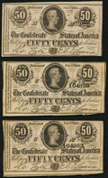 Confederate Notes:1864 Issues, T72 50 Cents 1864 Three Examples Choice About Uncirculated or Better.. ... (Total: 3 notes)