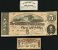 Confederate Notes:1864 Issues, T69 $5 1864 PF-3 Cr. 559 Crisp Uncirculated;. Two Confederate Bond Coupons About Uncirculated; Crisp Uncirculated.. ... (Total: 3 items)
