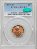 Lincoln Cents: , 1936-D 1C MS67+ Red PCGS. CAC. PCGS Population: (185/0 and 47/0+). NGC Census: (384/3 and 2/0+). CDN: $150 Whsle. Bid for p...
