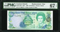 World Currency, Cayman Islands Monetary Authority 50 Dollars 2001 Pick 29a* Replacement PMG Superb Gem Unc 67 EPQ.. ...