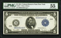 Fr. 851c $5 1914 Federal Reserve Note PMG About Uncirculated 55