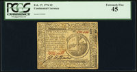 Continental Currency February 17, 1776 $2 PCGS Extremely Fine 45