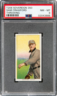 1909-11 T206 Sovereign 350 Sam Crawford (Throwing) PSA NM-MT 8 - Pop One, None Higher for Brand!
