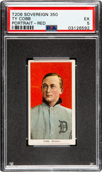 1909-11 T206 Sovereign 350 Ty Cobb (Portrait-Red) PSA EX 5 - Pop Four, None Higher for Brand/Series