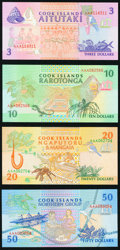 World Currency, Cook Islands Government of the Cook Islands 3; 10; 20; 50 Dollars ND (1992) Pick 7a; 8a; 9a; 10a Choice Crisp Uncirculated... (Total: 4 notes)