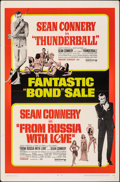 "Movie Posters:James Bond, Thunderball/From Russia with Love Combo (United Artists, R-1968). Folded, Fine/Very Fine. One Sheet (27"" X 41""). James Bond...."
