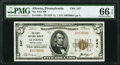 National Bank Notes:Pennsylvania, Altoona, PA - $5 1929 Ty. 1 The First National Bank Ch. # 247 PMG Gem Uncirculated 66 EPQ.. ...