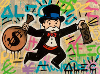 Alec Monopoly (b. 1986) Monopoly Money Acrylic and collage on canvas with resin 36 x 48 inches (9