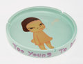 Collectible, Yoshitomo Nara X Bozart. Too Young to Die, 2002. Ceramic ashtray. 10 inches (25.4 cm) diameter. Stamped to the underside...