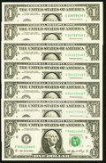 Radar 04577540 Fr. 1906-G $1 1969C Federal Reserve Note Gem CU; Radars Fr. 1933-C; F (2); G (3) $1 2006 Federal Reserve...