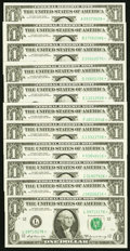 "Complete District Star Set ending in ""6"" Fr. 1904-A*-J*; L* $1 1969A Federal Reserve Star Notes Crisp Uncircul..."