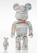 Collectible, BE@RBRICK X Estate of Jean-Michel Basquiat. Basquiat II 400% and 100% (two works), 2018. Painted cast resin. 10-3/4 ...