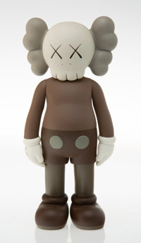 KAWS (b. 1974) Five Years Later Companion (Brown), 2004 Painted cast vinyl 14-3/4 x 6-1/2 x 3-3/4
