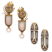Multi-Stone, Gold, Silver Earrings