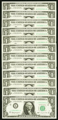 "Complete District Set ending in ""41"" Fr. 1900-A-L $1 1963 Federal Reserve Notes. Choice Crisp Uncirculated or..."