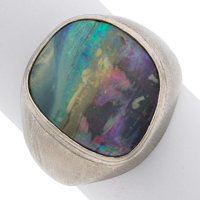 Opal, White Gold Ring