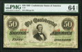 Confederate Notes:1863 Issues, T57 $50 1863 PF-15 Cr. UNL PMG Choice Uncirculated 64 EPQ.. ...