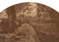 Robert Demachy (French, 1859-1937) Symbolist Study of Sleeping Woman in Woods, circa 1905 Gum bichromate 6-3/8 x 9 i