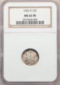 1920-D 10C MS65 Full Bands NGC. NGC Census: (14/12). PCGS Population: (61/30). CDN: $2,500 Whsle. Bid for NGC/PCGS MS65...