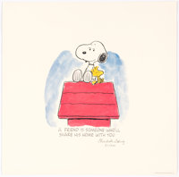 """Charles Schulz Peanuts """"Sharing"""" Snoopy and Woodstock Signed Limited Edition Lithograph Print #20/500 (Charles..."""