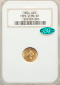 1854 G$1 Type Two MS61 NGC. CAC. NGC Census: (731/806). PCGS Population: (235/1063). MS61. Mintage 783,943. ...(PCGS# 75...