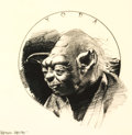 """Memorabilia:Science Fiction, Lawrence Noble """"Yoda"""" Signed Limited Edition Art Print #23/200 (Lucasfilm, 2007)...."""