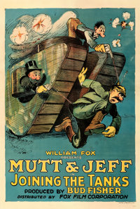 "Mutt and Jeff in Joining the Tanks (Fox, 1918). Very Good/Fine on Linen. One Sheet (28"" X 41.25"")"