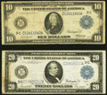 Large Size:Federal Reserve Notes, Fr. 912 $10 1914 Federal Reserve Note Very Good-Fine;. Fr. 975 $20 1914 Federal Reserve Note Very Fine.. ... (Total: 2 notes)